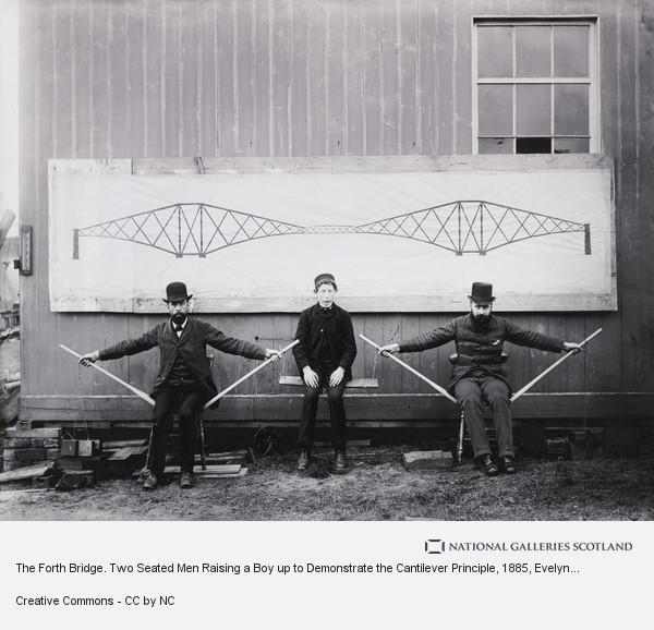 Evelyn George Carey, The Forth Bridge. Two Seated Men Raising a Boy up to Demonstrate the Cantilever Principle