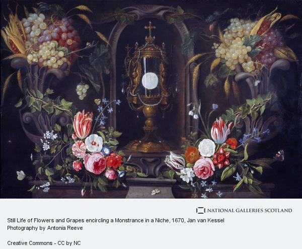 Jan van Kessel, Still Life of Flowers and Grapes encircling a Monstrance in a Niche