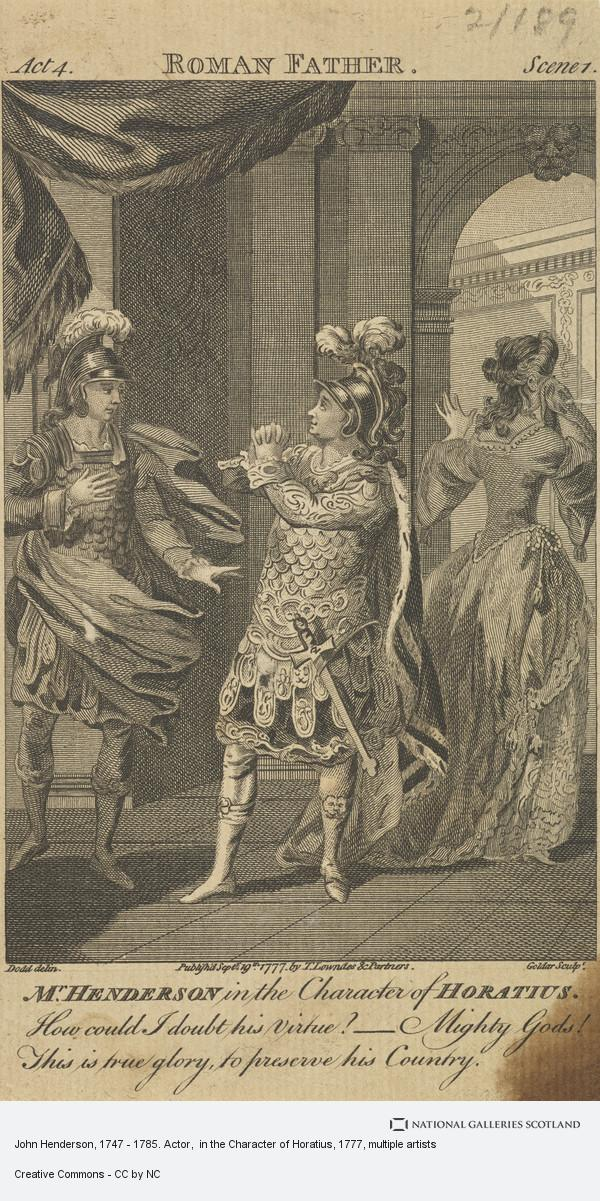 Dodd, John Henderson, 1747 - 1785. Actor,  in the Character of Horatius