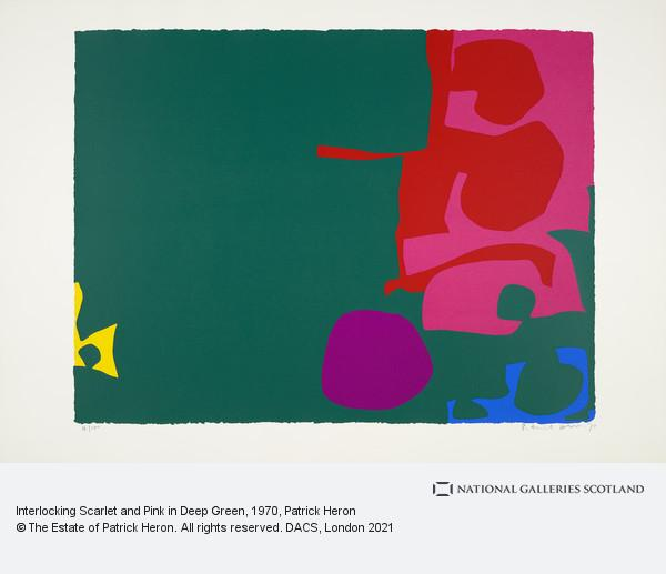 Patrick Heron, Interlocking Scarlet and Pink in Deep Green