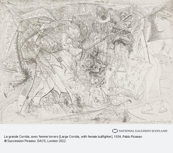 Pablo Picasso, La grande Corrida, avec femme torrero [Large Corrida, with female bullfighter]