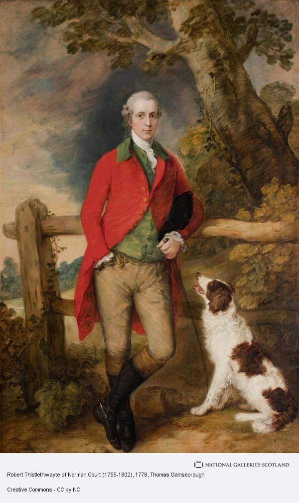 Thomas Gainsborough, Portrait of Robert Thistlethwayte of Norman Court, standing full-length, wearing a red coat, green waistcoat and buff breaches, holding a can,...