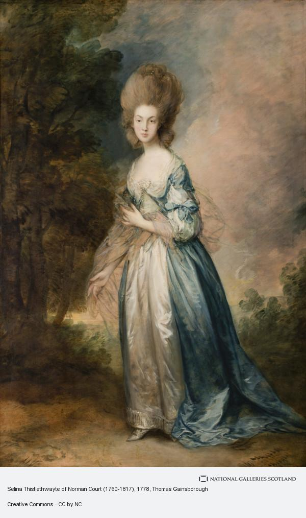 Thomas Gainsborough, Portrait of Selina Thistlethwayte of Norman Court, full-length in blue and white dress
