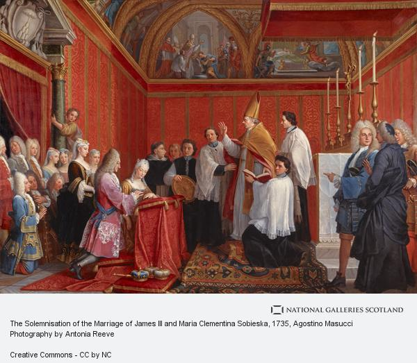 Agostino Masucci, The solemnization of the marriage of Prince James Francis Edward Stuart and Princess Maria Clementina Sobieska at Montefiascone 1 September 1719 (About 1735)