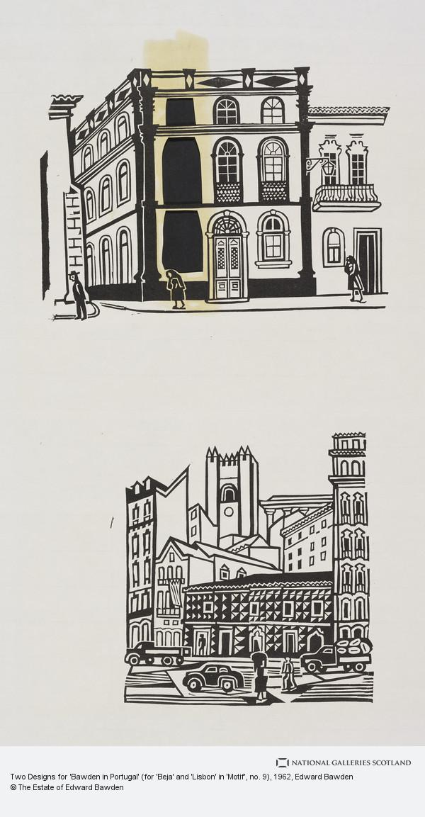 Edward Bawden, Two Designs for 'Bawden in Portugal' (for 'Beja' and 'Lisbon' in 'Motif', no. 9)