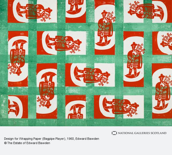 Edward Bawden, Design for Wrapping Paper (Bagpipe Player)