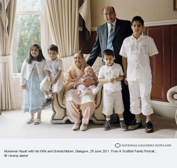Munawar hayat with his wife and grandchildren glasgow 28 june 2011 from a scottish family portrait series