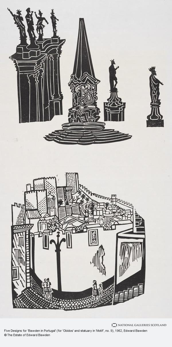 Edward Bawden, Five Designs for 'Bawden in Portugal' (for 'Obidos' and statuary in 'Motif', no. 9)