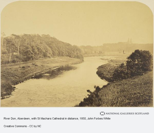John Forbes White, Album of photographs belonging to the Crum family, possibly assembled by Walter Crum. River Don, Aberdeen, with St Machars Cathedral in distance