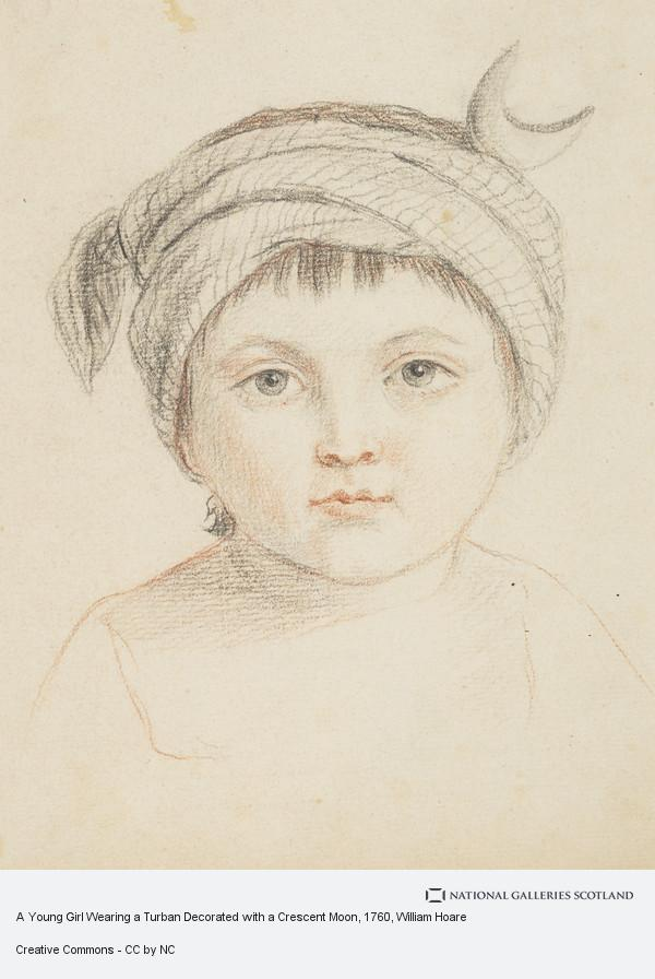 William Hoare, A Young Girl Wearing a Turban Decorated with a Crescent Moon