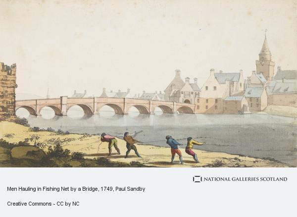 Paul Sandby, Men Hauling in Fishing Net by a Bridge