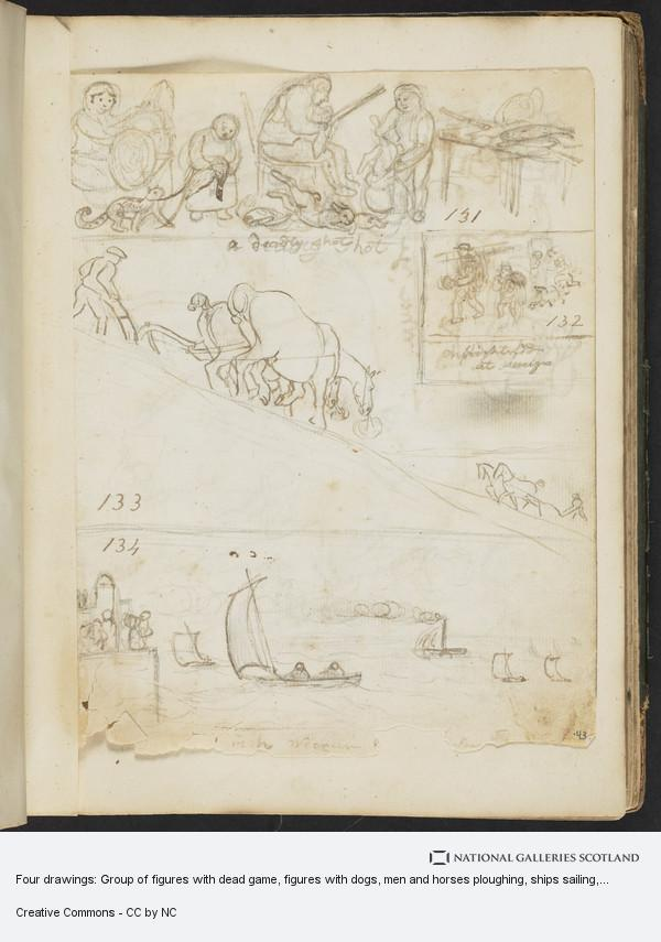 James Howe, Four drawings: Group of figures with dead game, figures with dogs, men and horses ploughing, ships sailing
