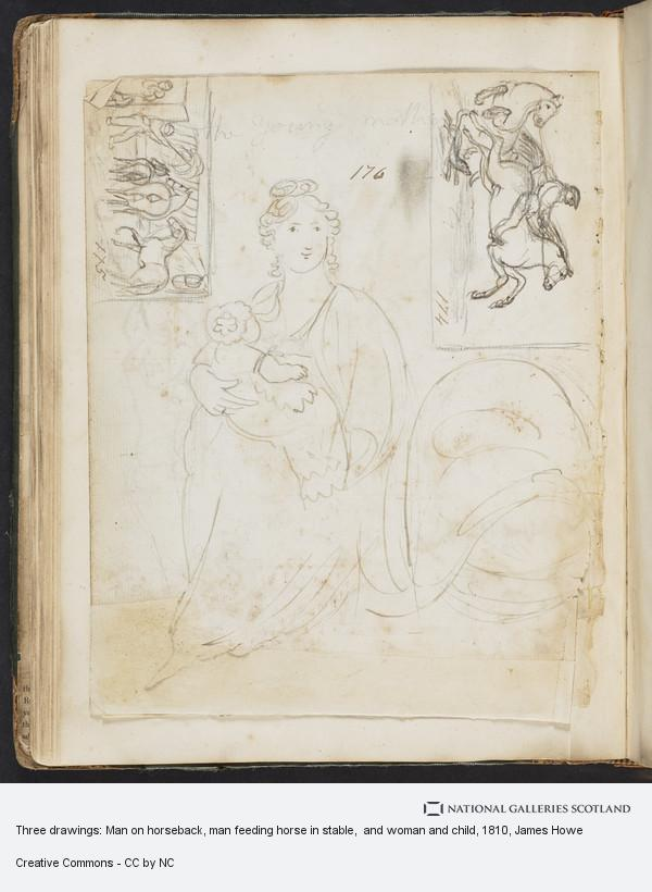 James Howe, Three drawings: Man on horseback, man feeding horse in stable,  and woman and child