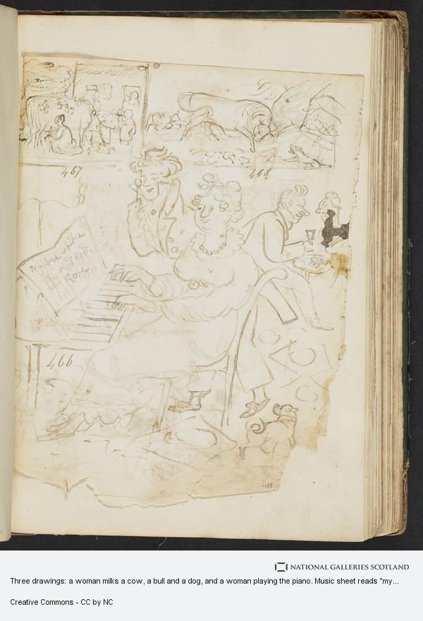 James Howe, Three drawings: a woman milks a cow, a bull and a dog, and a woman playing the piano. Music sheet reads