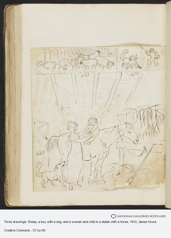 James Howe, Three drawings: Sheep, a boy with a dog, and a woman and child in a stable with a horse