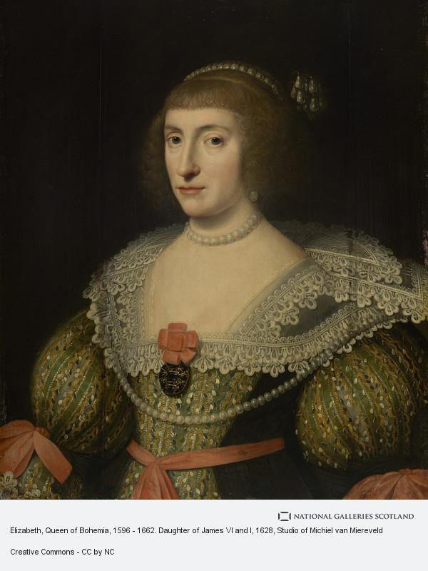 Studio of Michiel van Miereveld, Elizabeth, Queen of Bohemia, 1596 - 1662. Daughter of James VI and I