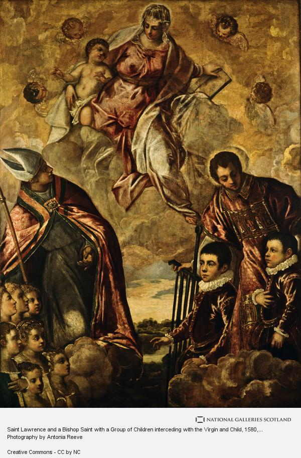 Tintoretto, Saint Lawrence and a Bishop Saint with a Group of Children interceding with the Virgin and Child