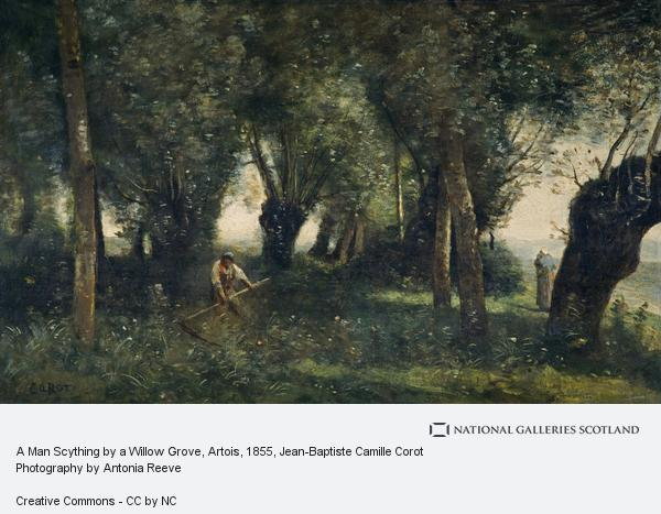 Jean-Baptiste Camille Corot, A Man Scything by a Willow Grove, Artois