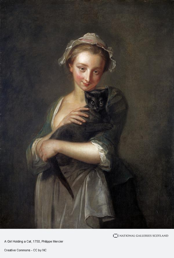 Philippe Mercier, A Girl Holding a Cat