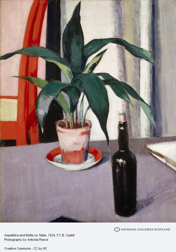 Francis Campbell Boileau Cadell, Aspidistra and Bottle on Table