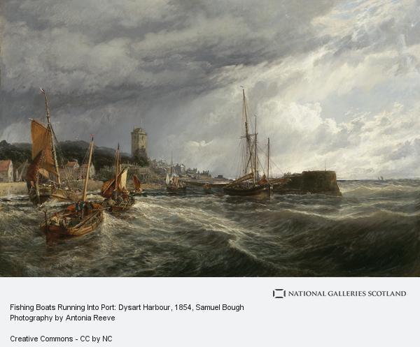 Samuel Bough, Fishing Boats Running Into Port: Dysart Harbour (1854)