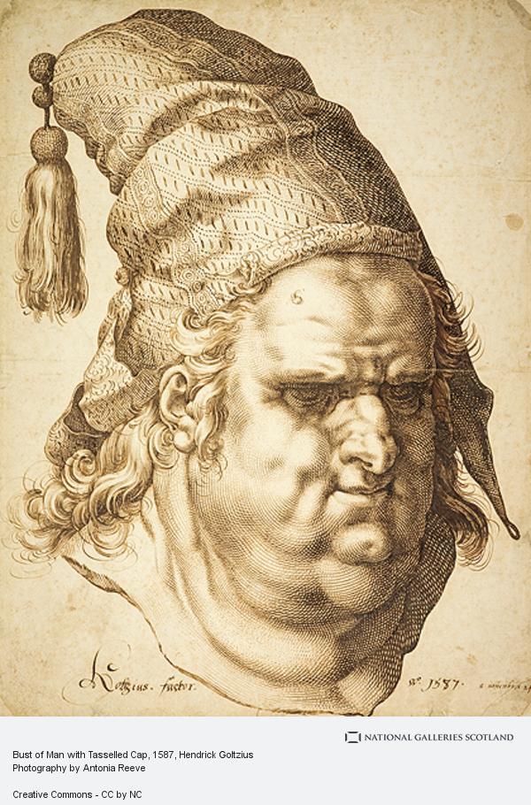 Hendrick Goltzius, Bust of Man with Tasselled Cap