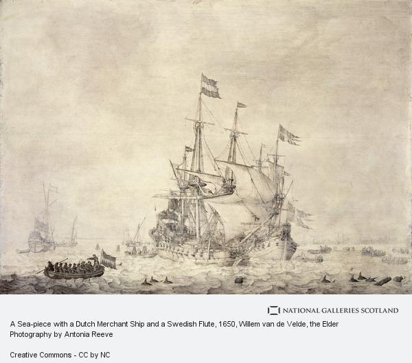 Willem van de Velde, the Elder, A Sea-piece with a Dutch Merchant Ship and a Swedish Flute (1650)