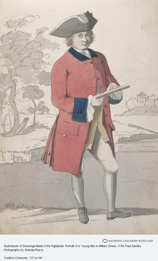 Paul Sandby, Sketchbook of Drawings Made in the Highlands: Portrait of a Young Man in Military Dress (About 1749)