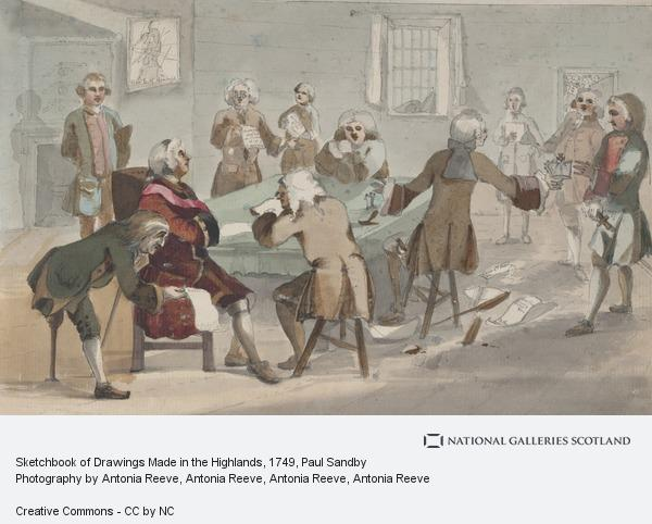 Paul Sandby, Sketchbook of Drawings Made in the Highlands: A Meeting of the Board of Ordnance (About 1749)