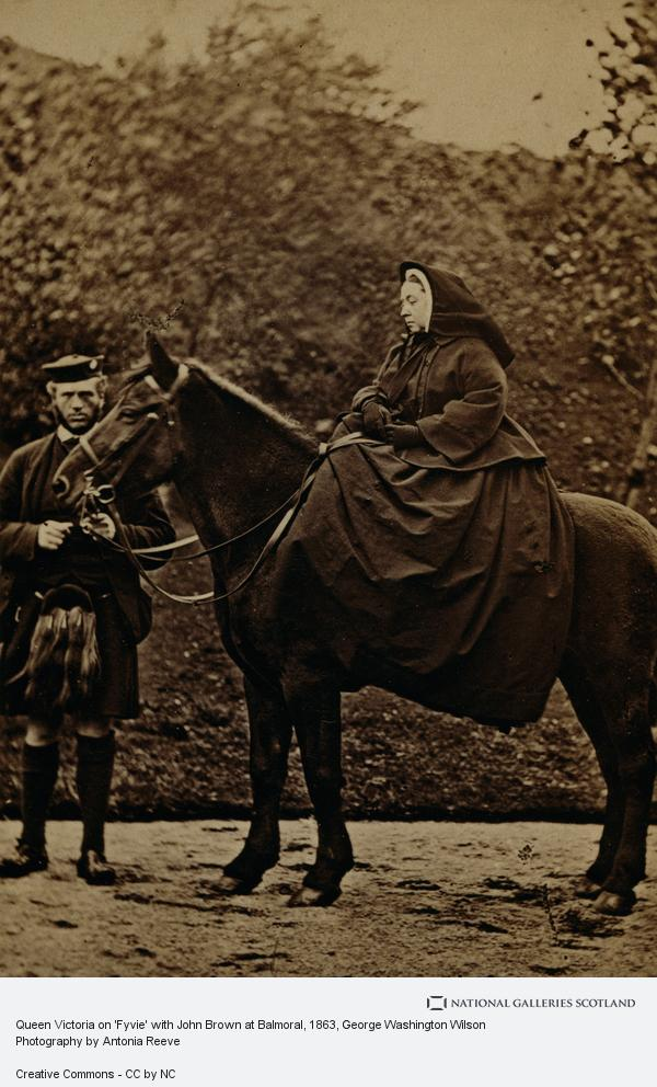 George Washington Wilson, Queen Victoria on 'Fyvie' with John Brown at Balmoral (1863)