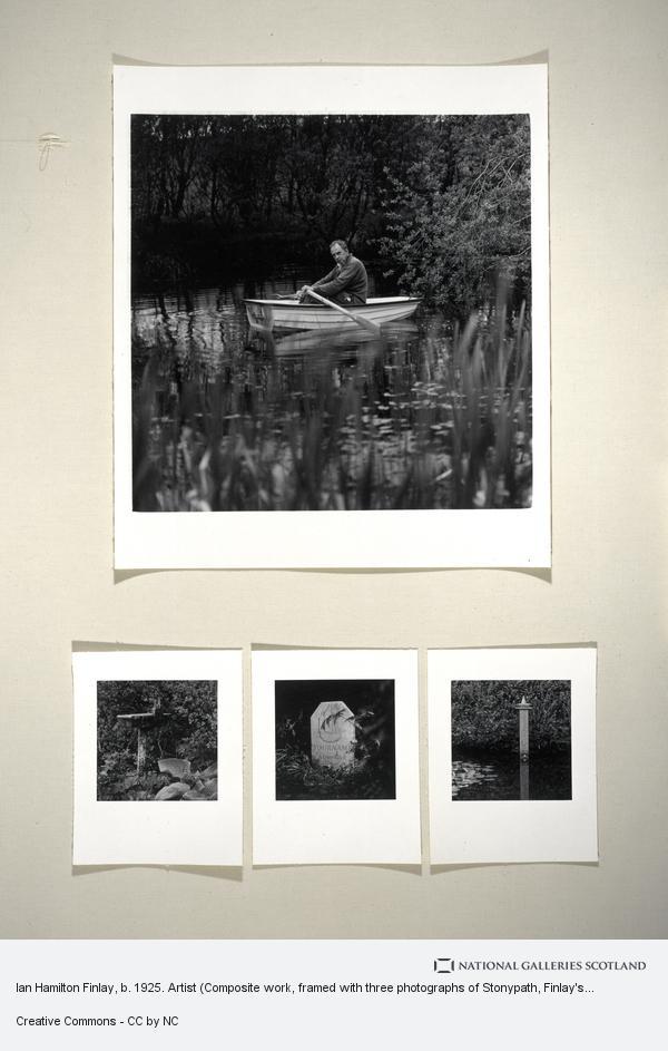 Robin Gillanders, Ian Hamilton Finlay, b. 1925. Artist (Composite work, framed with three photographs of Stonypath, Finlay's garden) (June 1995)