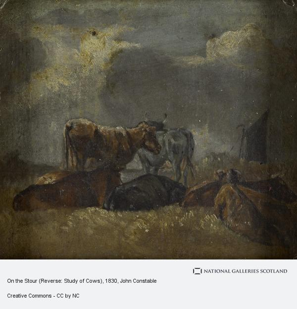 John Constable, On the Stour (Reverse: Study of Cows)