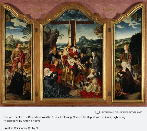 Joos van Cleve, Triptych. Centre: the Deposition from the Cross; Left wing: St John the Baptist with a Donor; Right wing: St Margaret of Antioch with a Donatrix (1518 - 19)