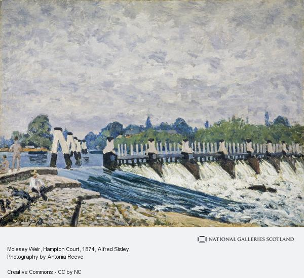 Description: Molesey Weir at Hampton Court Morning, 1874 - Alfred Sisley