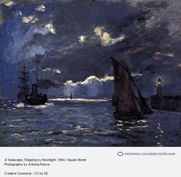 Claude Monet, A Seascape, Shipping by Moonlight (About 1864)