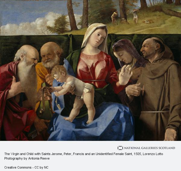 Lorenzo Lotto, The Virgin and Child with Saints Jerome, Peter, Francis and an Unidentified Female Saint
