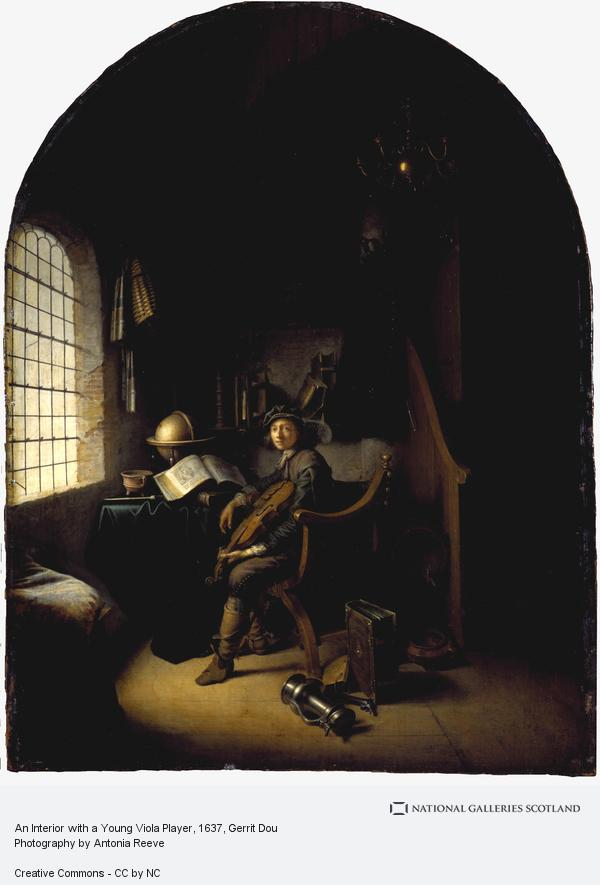 Gerrit Dou, An Interior with a Young Violinist