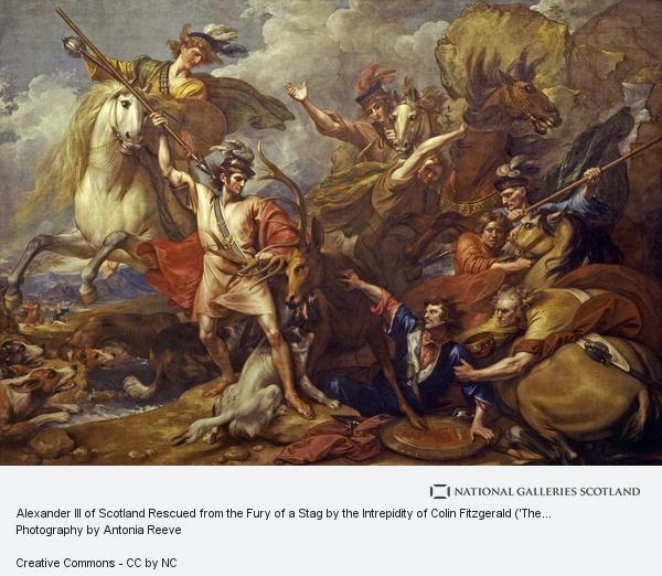 Benjamin West, Alexander III of Scotland Rescued from the Fury of a Stag by the Intrepidity of Colin Fitzgerald ('The Death of the Stag') (1786)