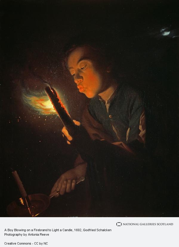 Godfried Schalcken, A Boy Blowing on a Firebrand to Light a Candle
