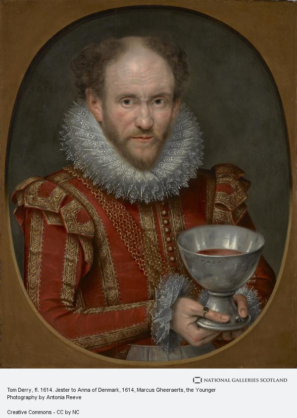 Marcus Gheeraerts, the Younger, Tom Derry, fl. 1614. Jester to Anne of Denmark