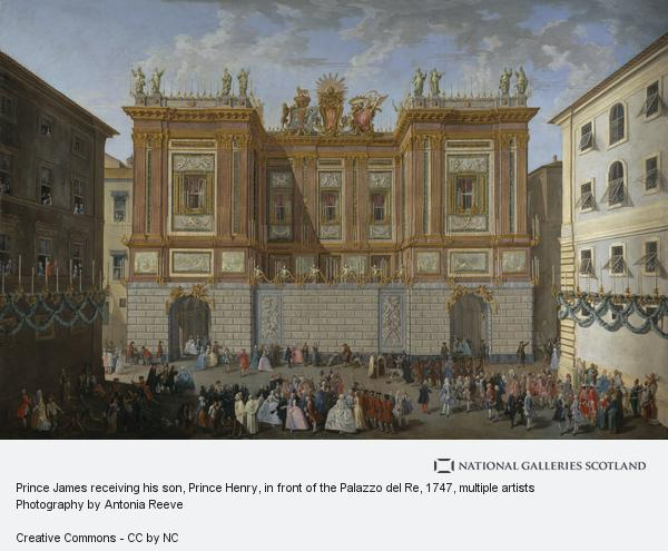Paolo Monaldi, Prince James receiving his son, Prince Henry, in front of the Palazzo del Re, 1747 (About 1747-1748)