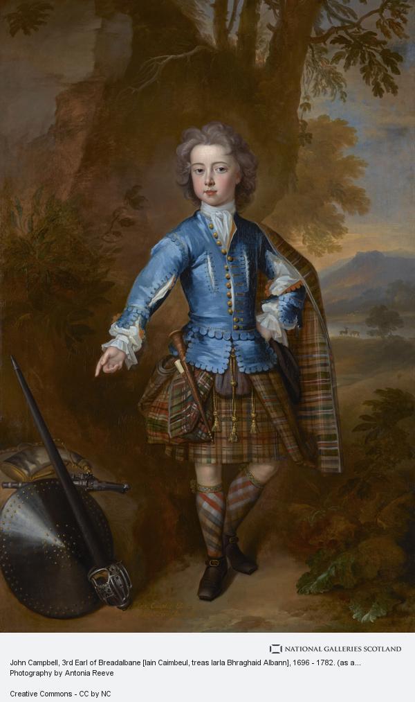 Charles Jervas, John Campbell, 3rd Earl of Breadalbane [Iain Caimbeul, treas Iarla Bhraghaid Albann], 1696 - 1782. (as a child in highland costume)
