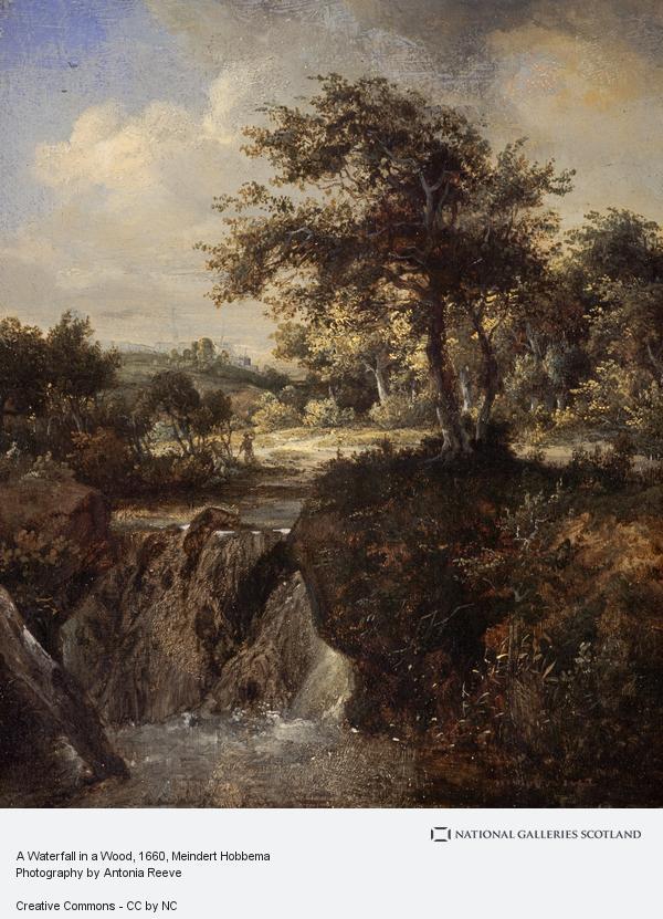 Meindert Hobbema, A Waterfall in a Wood