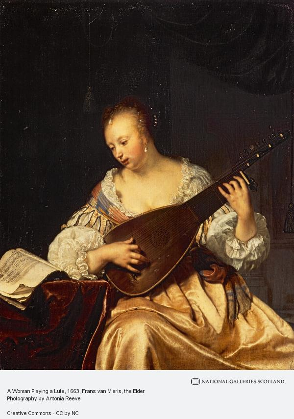 Frans van Mieris, A Woman Playing a Lute