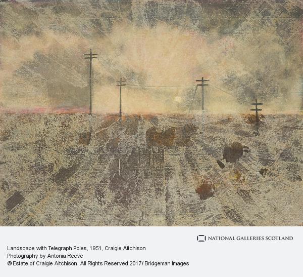 Craigie Aitchison, Landscape with Telegraph Poles