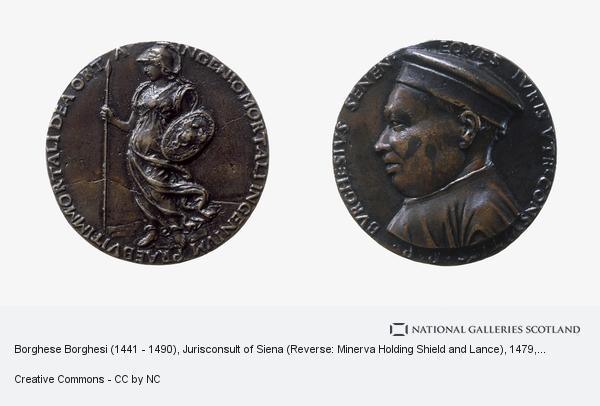 Francesco di Giorgio Martini, Borghese Borghesi (1441 - 1490), Jurisconsult of Siena (Reverse: Minerva Holding Shield and Lance) (About 1479)