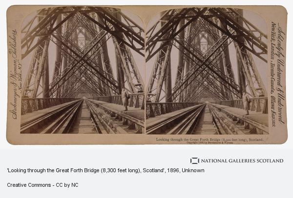 Unknown, 'Looking through the Great Forth Bridge (8,300 feet long), Scotland' (1896 or before (copyright 1896))