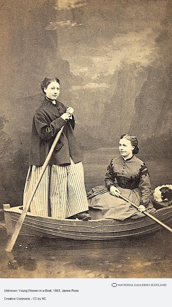 James Ross, Unknown Young Women in a Boat (About 1863)