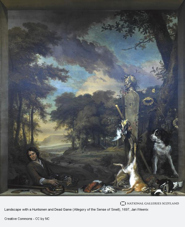 Jan Weenix, Landscape with a Huntsmen and Dead Game (Allegory of the Sense of Smell)