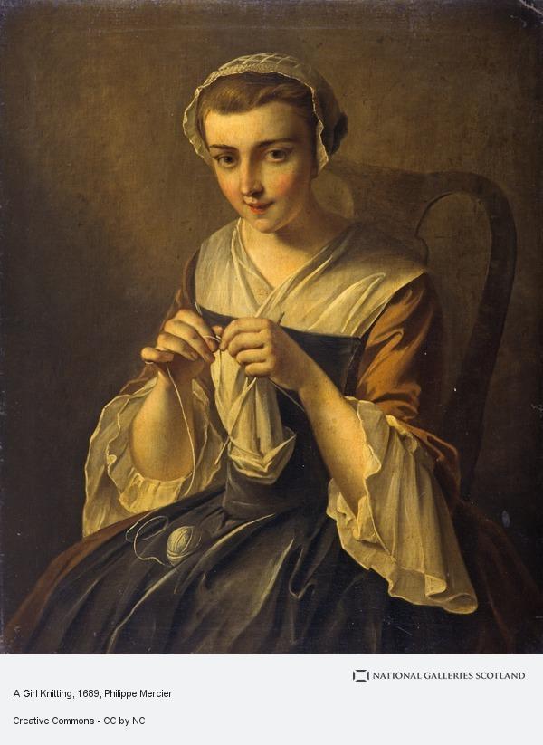 Philippe Mercier, A Girl Knitting
